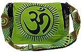 Guru-Shop Bolso de Hombro, Bolso Hippie, Goa OM Bolsa - Verde, Unisex - Adultos, Algodón, Tamaño:One Size, 23x28x12 cm, Bolsas de Hombro