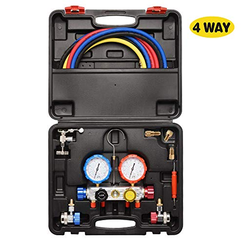 CALBEAU 4 Way Manifold Gauge Set, Fits R134A/R410A/R404A and R22 Refrigerants, Household Air Conditioning Repair Kit for Freon Charging and Vacuum Pump Evacuation
