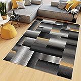 Tapiso Maya Alfombra de Salón Sala Comedor Diseño Moderno Naranja Gris Negro Blanco Geométrico Rayas Delgada 130 x 190 cm