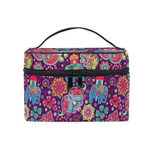 HaJie Large Capacity Makeup Bag Organiser Ethnic Mandala Flower Elephant Travel Portable Cosmetic Case Toiletry Storage Bag Wash Bag for Women Girls