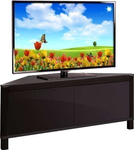 MDA Designs Volans Tru-Corner Remote Friendly Beam Thru Glass Walnut/ Black Reversible Panel 2-Door LCD/Plasma/LED TV Corner Cabinet