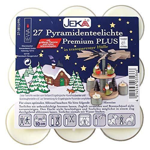 JEKA - Ebersbacher Kerzen 27er Set Premium-Teelichte mit Transparenter Tülle für Pyramiden Blockpack 4 x 4 x 13 cm