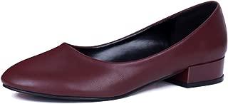 sorliva Low Chunky Heel Pumps,Round Toe Wide Width Low Heel Comfort Office Walking Classic Shoes for Women