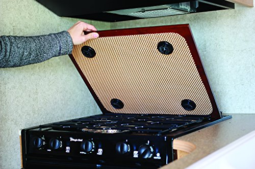Camco 43526-A Silent Top Stovetop Cover, Convert Your Stove Top to Extra Counter Space In Your Camper Or RV (Bordeaux Finish)
