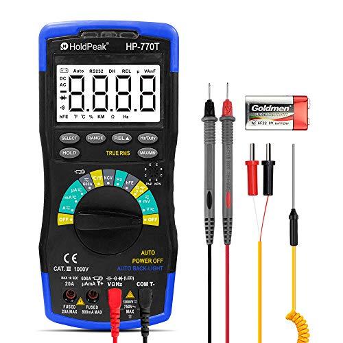 HoldPeak Multimetro Digitale HP-770T 6000 Conta TRMS DMM CATIII 1000V, Auto-Ranging, Data Hold, NCV, AC DC Amp Ohm Volt Meter hFE Diode LED Tester Condensatore con Termometro e Retroilluminato