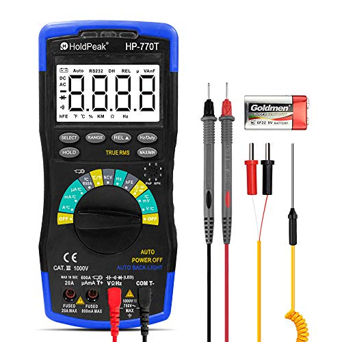 HOLDPEAK HP-770T Digital Multimeter 6000 Counts TRMS DMM CATIII 1000V,Auto Ranging,Data Hold,NCV,AC/DC Amp Ohm Volt Meter hFE Diode LED Capacitor Tester with Thermometer and Backlit