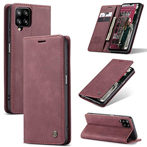 KONEE Funda Compatible con Samsung Galaxy A12, [Ranuras para Tarjetas] [Soporte Plegable] Magnético Carcasa Premium PU Cuero Flip Folio Carcasa para Samsung Galaxy A12 - Vino Tinto