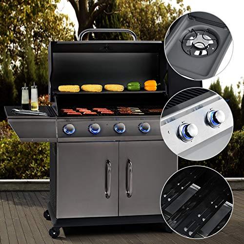 Broilcue BBQ Gasgrill Alabama 5 + 1 Edelstahl-Brenner 17,5 kW – Gas Grillwagen mit Gusseisen-Grillrost - Grill-Thermometer und Warmhalterost