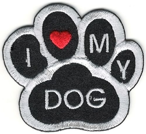 1 Pieces Small 1.75' x 2' inches Applique Patches Mini Black White I love heart my Dog Animal Paw Print Embroidery Patch Embroidered Iron On Sewing Making Handcraft Clothing Craft Logo Decoration