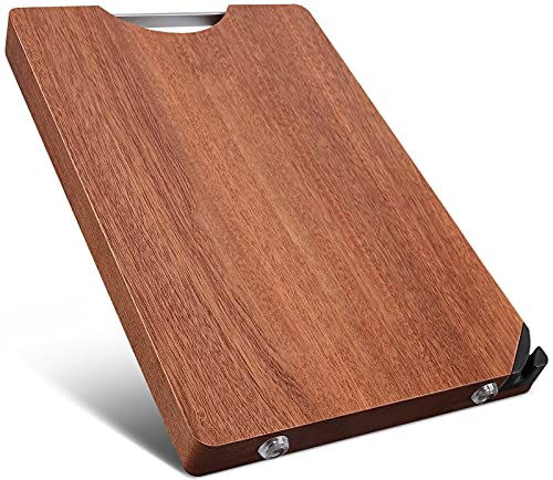 SEMORK Thick Wood Chopping Board for Meat with Sharpening Stone & Easy-grip Handle (Medium, 13 x 9″), Best Butcher Block for Vegetable and Cheese, Hardwood Fruit Cutting Board for Home Renovation Gift