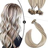 Ugeat Keratin Flat Tip Hair Extensions 16inch Flat Tip Pre Bonded Human Hair Extensions #18 Blonde Highlight with #613 Blonde Human Hair Extensions Flat Tip Hair 50g