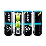 Dunlop Sports ATP Championship Extra Duty Tennis Balls, 4 x 3-Ball cans(12 Balls Total)