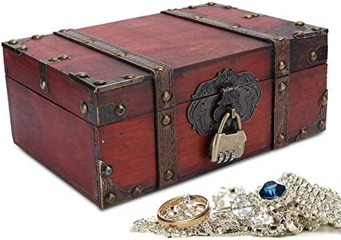 Vintage Wooden Storage Box Decorative Treasure Jewelry Chest With Lock Home Decoration Chest product image
