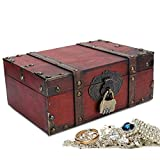 Decorative Home Storage Trunk with Lid & Lock -- Antique Wood Chest, Vintage Style Handcrafted Decorative Box Case Holder Organizer for Home Decoration, Gift Box For Jewelry Necklace Earrings Storage