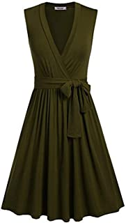 Short Sleeves/Sleeveless Deep V-Neck Maxi Women Dress Vintage Waist Belt Shirring Knees Long Draped Cocktail Dress