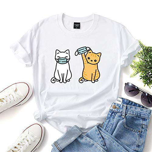 LXHcool 2020 Coron_avirus I Surviving T-Shirt Cov_id 19 Funny Cat Wearing a mask T-Shirt (Color : White, Size : Large)