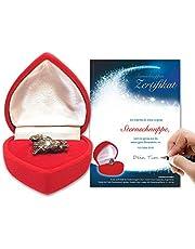 Auténtico meteorito en caja de corazón rojoIncluye certificado de meteorito con espacio para tu firma: regalo de Navidad, regalo para cumpleaños, aniversario o día de San Valentín.