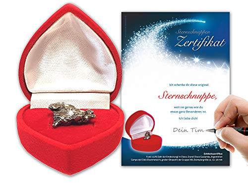 Geschenke-Bestellen24 Echte Sternschnuppe in roter Herzbox - inkl. personalisierbarem Sternschnuppenzertifikat mit romantischer Widmung