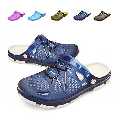 techcity Unisex Garden Clogs Outdoor Walking Sandals Breathable Sport Slides Summer Non Slip Pool Beach Shower Slippers Shoes Blue