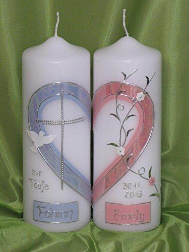 Taufkerze für Zwillinge/Geschwisterkerze ; 2 Kerzen ergeben ein Motiv ein Herz inklusive Beschriftung ! TZ-5