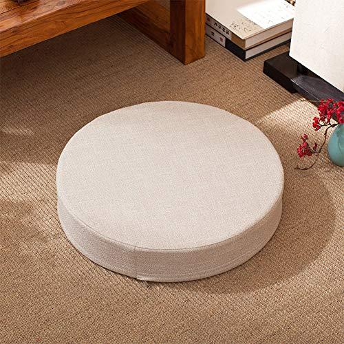 YLCJ Cojín de Asiento de meditación Redondo Grueso de Lino, Almohadillas de Asiento de futón, sillas de Oficina en el Suelo Cojín Elevador reclinable-A 50x6cm (20x2inch)