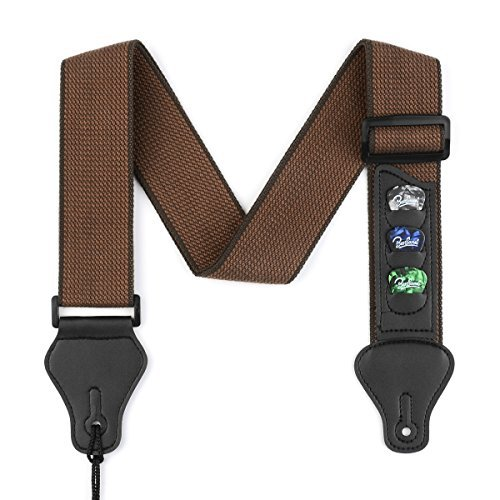 BestSounds Guitar Strap with 3 Pick Holders 100% Soft Cotton Strap For Bass Electric & Acoustic Guitars (Coffee)