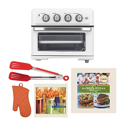 Cuisinart TOA-60 AirFryer Toaster Oven (White) Ultimate Bundle with 8-Inch Flipper Tongs, Oven Mitt, and Two Cookbooks (5 Items)