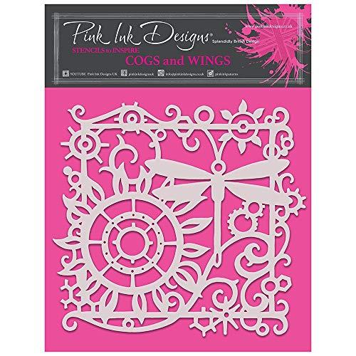 Pink Ink Designs PINKST011 Zahnräder und Flügel – Schablone, transparent, 20 x 20 cm approx