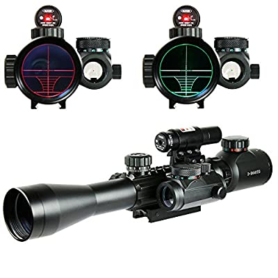Chinoook 3-9X40 Illuminated Tactical Rifle Scope with Red Laser & Holographic Dot Sight from Qinuke