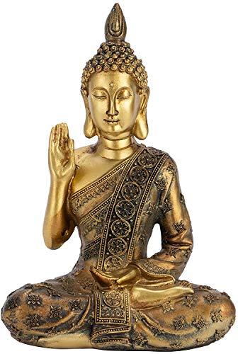 Optyuwah Buddha Zen-Garten Buddha Figur - Buddhafigur aus Polyresin Skulptur Buddha-Statue 20x13.5x8cm, meditierend Buddhismus Dekoration für Wohnung - Amithaba sitzend,Meditation Entspannen (A)