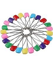 50 stuks luiers pennen baby veiligheidsspelden 2,2 inch kunststof stof luier pennen met vergrendelsluiting sluiting roestvrij staal luier pennen met fluwelen zakje (kleur willekeurig)