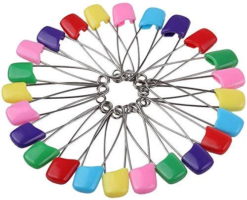 50 pezzi spille per pannolini spille da balia per bambini spille per pannolini in tessuto di plastica da 2,2 pollici con chiusura ad incastro spille(colore casuale)