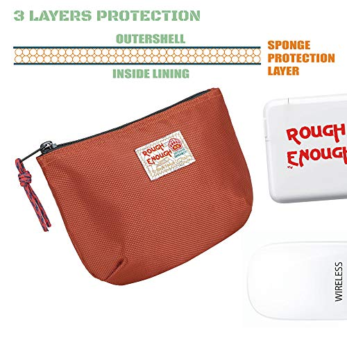Rough Enough Small Travel Power Bank USB Charger Cable Case Organizer Bag Pouch with Zipper for Mac Electronics Tech Accessories Magic Mouse Toiletry Storage Shaving Kit for Men Women School Boy Girl