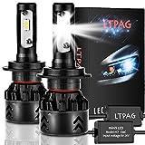 LTPAG Bombilla H7 LED Coche, 2pcs 72W 12000LM Lampara H7 LED 12V/24V Luces LED Coche H7, Faros...