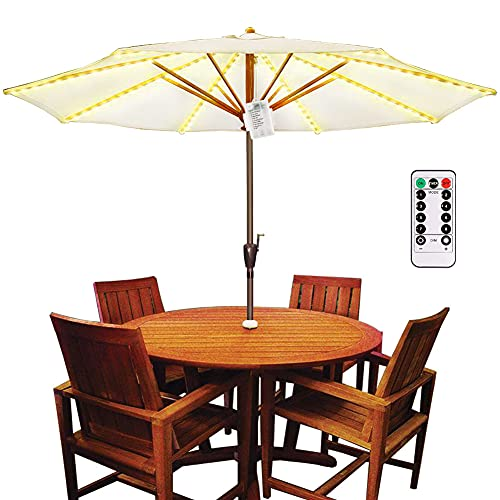 Patio Umbrella Lights Battery Powered, Parasol LED String Pole Lighting Remote Control Cordless Dimmable Waterproof IP67 for Outdoor Beach,Restaurant,Swimming Pool,Camping Tent,Garden,Backyard,Wedding