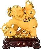Statues,Feng Shui Money Elephant Figurine Wealth Lucky Figurine Gift & Home Decor Buddha Home Decor...