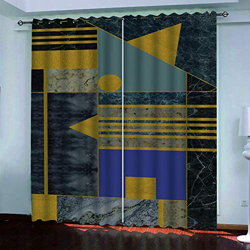 MMHJS Nordic 3D Stripe Printing Curtains, Polyester Thickened Waterproof And Washable Curtains, Bedroom And Living Room Balcony Blackout Vertical Curtains (2 Pieces)
