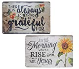TISOSO Funny Letter Floral Sunflowers Vintage Metal Tin Sign Wall Art Decor for Living Room Home Coffee Bar Signs Gifts Decoration 2Pcs-8X12Inch