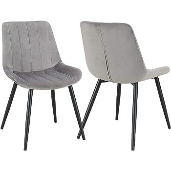 2er Set Esszimmerstuhl aus Stoff Samt Polsterstuhl Retro Design Stuhl mit Rückenlehne Metallbeine Farbauswahl Duhome 8075C3, Farbe:Grau, Material:Samt