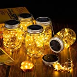4 Stück Solarlampen für Außen, 30Leds Lichterkette im Einmachglas Warmeweiße Laterne, Mason Jar Lampions Balkon Tischleuchte Dekoration Aussen, Wasserdichte Hängeleuchte für Garten Party Hochzeit