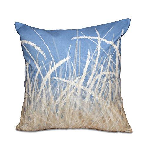 E by design - Almohada (45,7 x 45,7 cm), diseño de césped de mar, Color Azul