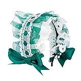 Amycute ロリータ カチューシャ ゴスロリ メイド ヘアアクセサリー 髪飾り ヘッドドレス レース リボン (ゴスロリグリーン)