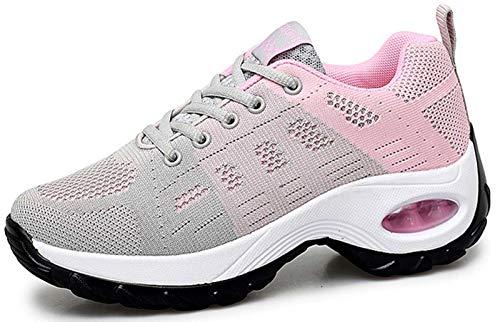 2020 Zapatos cuña Mujer Zapatillas de Deportivas Plataforma Mocasines Primavera Verano Planas Ligero Tacon Sneakers Cómodos Zapatos para Mujer, Gray,36 EU