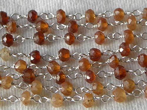 Cuentas de piedras preciosas Hessonita Granate Rosario Cadena de piedras preciosas 1 1/2 ft Cadena de alambre de plata de ley 3.5-4mm facetado código semiprecioso-HIGH-71423