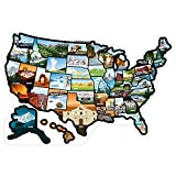 RV State Sticker Travel Map of The United States - 21x14.5' Travel Trailer Camper Map RV Decals for Window, Door, or Wall - 50 State Decal Stickers with Scenic Illustrations- Camper Accessories