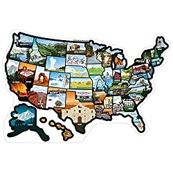 "SEE MANY PLACES .com RV State Stickers United States Travel Camper Map RV Decals for Window, Door, or Wall ~ Includes 50 State Decal Stickers with Scenic Illustrations (21"" x 14.5""/Large) See Many Places"