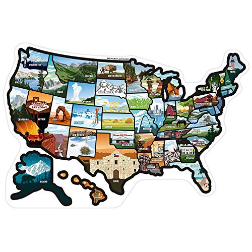 """RV State Sticker Travel Map of The United States (21"""" x 14.5""""/Large) - Travel Camper Map RV Decals for Window, Door, or Wall - Includes 50 State Decal Stickers with Scenic Illustrations"""