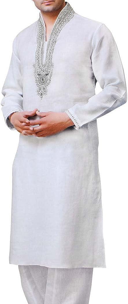 INMONARCH Mens White Linen Kurta Pyjama Embroidery Neckless Style KP1514