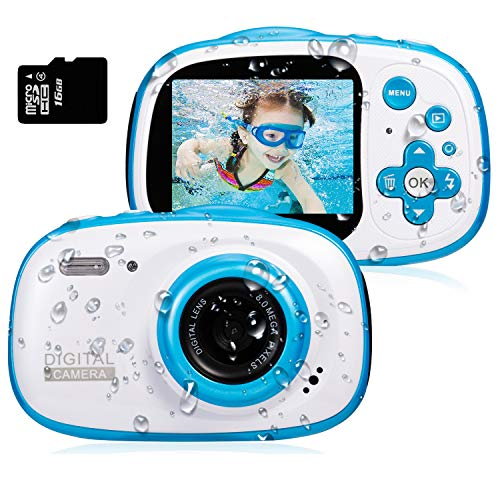 Dessports Toy Camera Waterproof 8MP HD Video Cameras for Kids Underwater Digital Camcorder Cute Children's Zoom Camera Birthday Gift for Boys 5-9 Years Old for Swimming, Blue (Include 16G Memory Card)