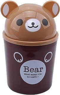 TraveT Desktop Trash Can Cartoon Animals Wastebasket Rubbish Storage Bin Mini Garbage Organizer for Office Home Decoretion,Brown Bear